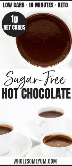 Low Carb Keto Hot Chocolate Recipe - See how to make keto hot chocolate with just 5 ingredients! This sugar-free low carb hot chocolate recipe is thick and rich, yet EASY. Guess the secret ingredient for the best keto hot cocoa ever! Keto Hot Chocolate Recipe, Sugar Free Hot Chocolate, Hot Cocoa Recipe, Cocoa Recipes, Chocolate Desserts, Low Carb Sweets, Low Carb Desserts, Low Carb Recipes, Real Food Recipes