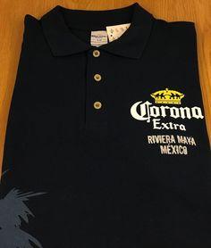 Corona Extra Riviera Maya Mexico Men's Short Sleeve Polo Shirt Size XL Navy NEW