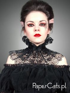 Like the eye make up! Black Lace Ruff Victorian Gothic Goth. $15.00, via Etsy.