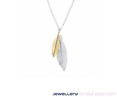 Solid Silver Double Leaf Pendant Necklace €59.95