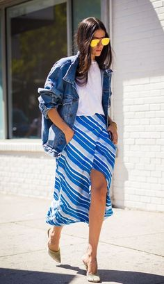 We love this striped midi skirt in blue hues.