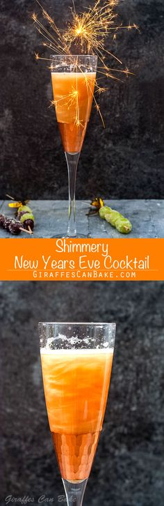 This glamorous Shimmery New Years Eve Cocktail is made with just three simple ingredients, and is the perfect way to toast in the new year #nye #newyearseve #cocktails #champagne via @giraffescanbake