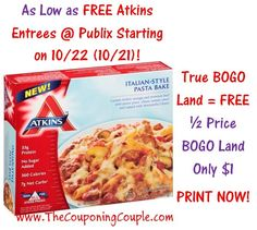 ***PRINT YOUR COUPONS NOW BEFORE THEY ARE GONE*** FREE Atkins Frozen Entrees in TRUE BOGO Land @ Publix starting on 10/22 (10/21) or only $1.00 each in 1/2 Price BOGO Land!   Click the link below to the FULL BREAKDOWN and DIRECT LINKS to the coupons ► http://www.thecouponingcouple.com/free-atkins-frozen-entrees-publix-starting-on-1022-1021-print-now/  #Coupons #Couponing #CouponCommunity  Visit us at http://www.thecouponingcouple.com for more great posts!