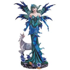 Blue Fairy with Unicorn Statue - 05-91445 by Medieval Collectibles