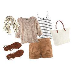 khaki shorts, striped shirt, beige sweater, brown sandals, white tote, striped scarf