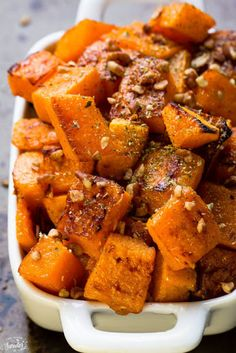 Maple pecan roasted butternut squash makes an easy, healthy & delicious side dish perfect for Thanksgiving or any holiday gathering. Best way to get flavor Thanksgiving Side Dishes, Thanksgiving Recipes, Fall Recipes, Holiday Recipes, Easter Recipes, Pumpkin Recipes, Vegetable Recipes, Vegetarian Recipes, Cooking Recipes
