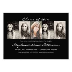 Modern Chic 5 Photo Graduation Announcement Black Click On To Purchase Check Out