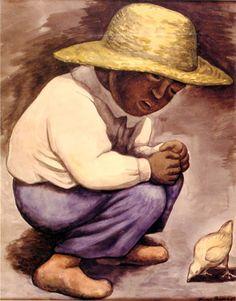 niño con polluelo Diego Rivera