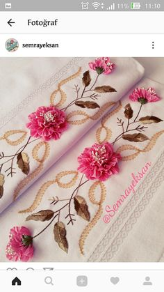 This Pin was discovered by Tül Silk Ribbon Embroidery, Crewel Embroidery, Embroidery Patterns, Ribbon Art, Rug Hooking, Fabric Flowers, Sewing Crafts, Needlework, Floral Prints