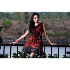 Floral Print Red and Black #Kurti