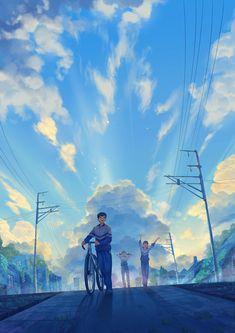 Students walking on the road illustration art Wallpaper Animes, Anime Scenery Wallpaper, Anime Artwork, Animes Wallpapers, Fantasy Landscape, Landscape Art, Fantasy Art, Aesthetic Art, Concept Art
