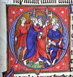 Unknown miniaturist (13th century)-'the betrayal of Christ'-miniature    New York-Pierpoint Morgan Library (M 102, fol. 52)
