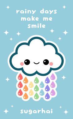 Rainy days make me smile, a cute cloud graphic created by sugarhai.