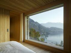 Schlafzimmer Traumblick Panorama See Schweiz