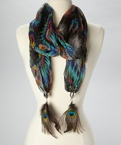 Another great find on #zulily! Turquoise & Black Peacock Scarf by The Accessory Collective #zulilyfinds