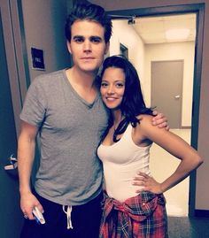 Paul with Gabrielle Walsh on her last day on the TVD set 5/12/14