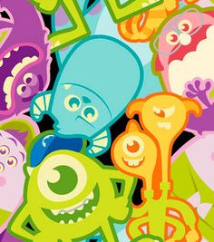Colorful Childrens MONSTERS Inc. FLEECE  Fabric By by ByTheYard4U, $19.99