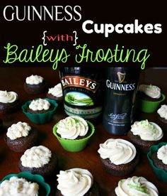 Best St. Patrick's Day cupcakes!  Guinness Cupcakes with Baileys Frosting  #stpatricksday