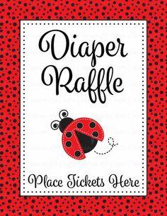 diaper raffle tickets printable download red black ladybug baby shower invitation inserts b10002