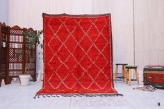 5ft x 7ft Red Berber Rug : Authentic red moroccan berber hand knotted carpet . This vintage Moroccan carpet is a piece of classic art and will look absolutely...