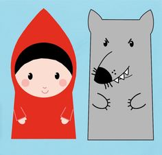 red and wolf Paper Bag Puppets, Hand Puppets, Finger Puppets, Little Red Ridding Hood, Red Riding Hood, Fairy Tale Activities, Finger Puppet Patterns, Charles Perrault, Puppet Crafts