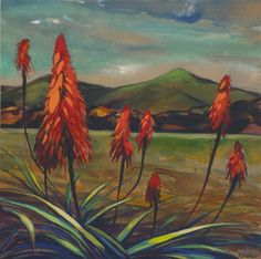 Acrylic on Board by Karin Shelton. Tequila Agave, Downtown Santa Barbara, Scarlet, New Work, Aloe, Succulents, Paintings, Green, Prints