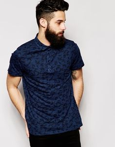 River Island Polo Shirt with Feather Print