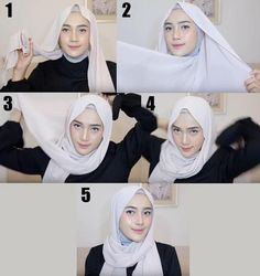 Casual Hijab Outfit, Ootd Hijab, Girl Hijab, Stylish Hijab, Simple Hijab Tutorial, Hijab Style Tutorial, Tutorial Hijab Pashmina, Hijab Bride, Wedding Hijab
