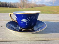 VINTAGE BONE CHINA TEA CUP SPENCER STEVENSON ENGLAND NAVY BLUE GOLD/SILVER CA1 #SpencerStevenson