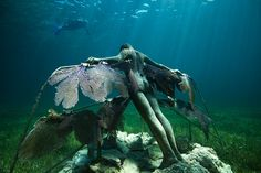 Resurrection, Depth 4m, MUSA Collection, Punta Nizuc, Mexico. - Underwater Sculpture by Jason deCaires Taylor