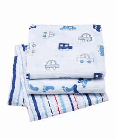 Three Baby Boy Muslin Wraps by Bubble on #zulily