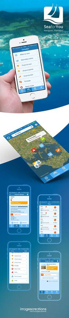 L'APP COMMUNAUTAIRE DES PASSIONNÉS DE MER.  Une réalisation de l'agence web & mobile www.imagescreations.fr