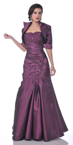 Strapless Mother of Bride Eggplant Dress Includes Bolero Jacket  $207.99