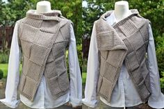 Knitting PATTERN - The Loden wrap, womens sleeveless jacket, cardigan - Bolero Pattern, Knit Vest Pattern, Edinburgh, Basket Weaving Patterns, Lace Shrug, Sleeveless Cardigan, Super Bulky Yarn, Crochet Buttons, How To Make Buttons