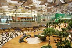 The Changi Terminal 3 interior architecture applies design principles of 'social and sensory' elements to create a memorable airport experience, characterised by a Singaporean 'sense of place', reinforcing user friendliness and Singapore Sights, Singapore Changi Airport, Singapore Travel, Singapore Singapore, Airport Terminal 3, Sala Vip, Thailand, Airport Design, Airport Lounge