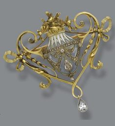 A Belle Epoque gold, plique-à-jour enamel and diamond brooch, L. Gautrait, circa 1900. Designed as an urn of pale blue plique-à-jour enamel, the rim applied with opaque white champlevé enamel, filled with chased gold roses, the scrolling handles accented with foliate sprigs and bows, signed L. Gautrait. #Antique #Gautrait