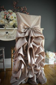Gathered style wedding chair cover hood bustled back