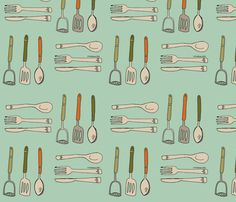 kitchen_utensils_spoonflower fabric by phatsheepfabrics on Spoonflower - custom fabric