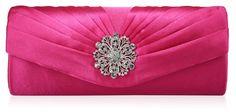 Pink Crystal Flower Satin Clutch