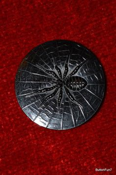 Large Vintage Celluloid Spider and Web Button
