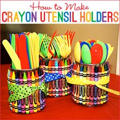 These crayon utensil holders are such a great idea for an art party, rainbow party, back-to-school, or just to make your kids' craft area cute! They're made using empty soup cans (upcycle alert!) and a large box of crayons. You could put utensils in them, ...