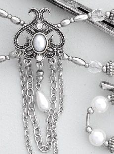 ARWEN This silver nickel beauty with pearl and chain dangles is an elegant piece anytime! Braided Half Up, Braided Ponytail, Loose Braids, Twist Braids, Arwen, Rose Hair, Hair Sticks, Celtic Knot, Clear Crystal