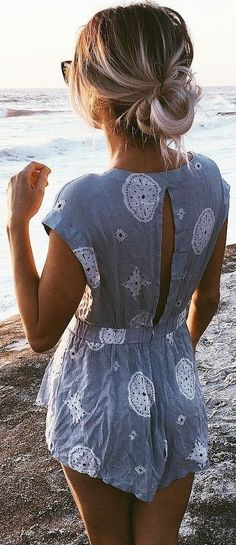 Grey Print Playsuit Source