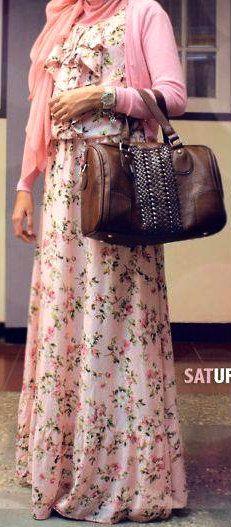 Maxi Dress + Cardigan Style! #Hijab ❤ hijab style