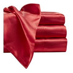 Everly Quinn Jeannie 230 Thread Count Satin Sheet Set Size: Queen, Color: Red