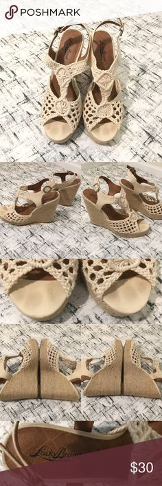 LUCKY BRAND Rilo Crochet fabric Wedge Sandals Gently used ! Please see photos for exactly details   😃🌹Please take a few minutes to complete your feedback. Your feedback matters to me. I'm very appreciate all the Positive feedback that I got from you. Lucky Brand Shoes Wedges