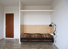 Reconstructed room at Studio Building, Bauhaus Dessau. Bauhaus dorms now available as hotel rooms. Outside Berlin.