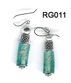 Handmade sterling silver Roman Glass earrings.