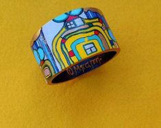 Art Bangle from wood Handmade Gold Blue Red Orange Yellow White Green acrylic painting Hundertwasser Ladies Gift. Friedensreich Hundertwasser, Gifts For Women, Gifts For Her, Bangle Bracelets, Bangles, Acrilic Paintings, Beautiful Earrings, Contemporary Artists, Orange Yellow