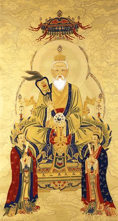 The Supreme Venerable Sovereign, also known as Laozi (Lao-tzu) (Image: Source unknown) According to the Taoist tradition, the Birth. Buddha Kunst, Buddha Art, Korean Art, Asian Art, Chinese Painting, Chinese Art, Folk Religion, Chinese Mythology, Tao Te Ching